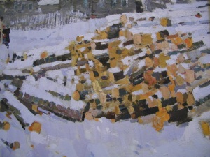 Close up of a painting of cut logs, Timkov
